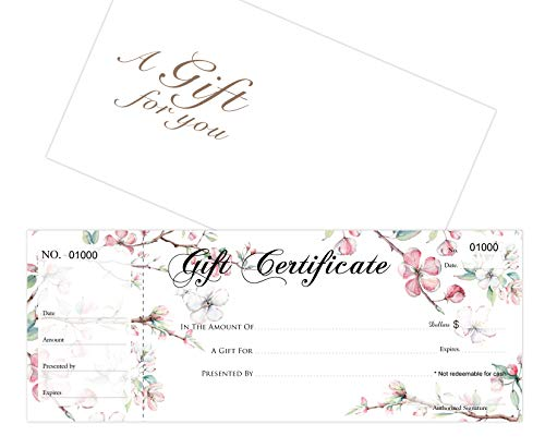 Blank Gift Certificates 25set, gift certificate for business, Gift-Blossoms-PP, Comes with Free matching Envelopes, Sequential Numbering Printing-Spa,Eyelash, Makeup,Hair Beauty Salon,Restaurant