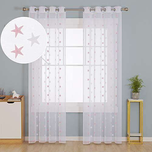 Deconovo Voile Vorhang mit Ösen Dekosachl Transparent Gardinen Kinderzimmer Gardinen Leinenoptik 175x140 cm Stern Rosa