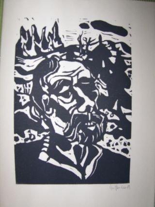 ORIGINAL-Kl. GRAPHIK aus der ILLUSTRATION 63 : Original-Linolschnitt von Flora Hoffmann zu C. E. Ramuz
