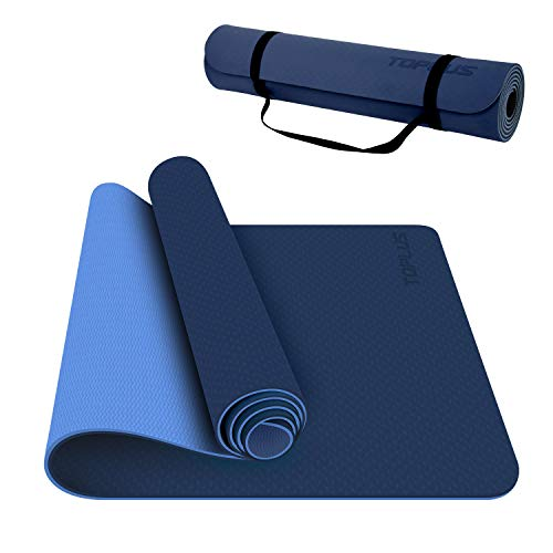 TOPLUS Yoga Mat, 1/4 Inch Thick Pro Yoga Mat TPE Eco Friendly Non Slip Fitness Exercise Mat with Carrying Strap-Workout Mat for Yoga, Pilates and Floor Exercises(Blue)