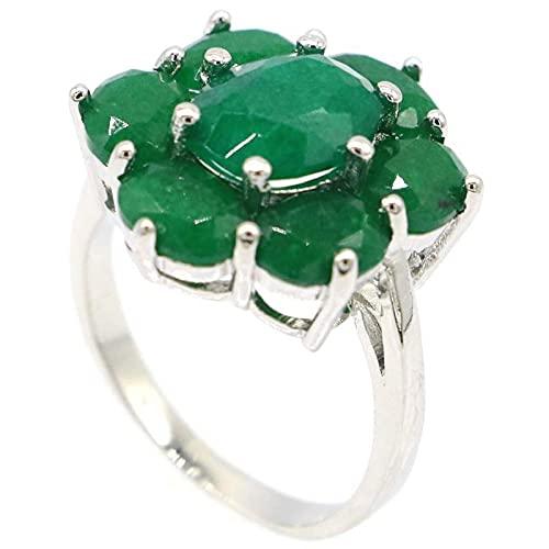 20x17mm Real Verde Esmeralda Real Red Ruby 925 Anillo de plata esterlina para mujer Moda fina8.25green