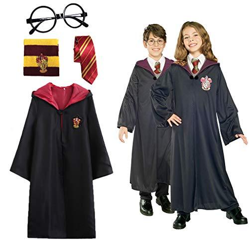 Amycute 4 Piezas Disfraz de Mago Cosplay para niños Adultos, con Capa, Corbata, Montura de Gafas para la Fiesta de Mago Disfraz Carnaval Halloween (50-54in)