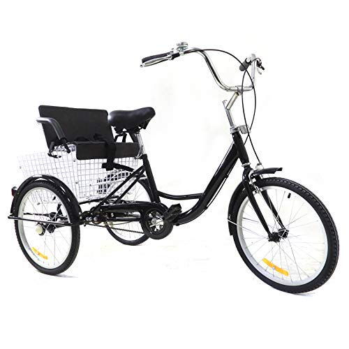 20' 1 Velocidad Bicicleta De 3 Ruedas para Adultos, Triciclo de Acero de Alto Carbono con Cesta & Siège d'enfant, Negro