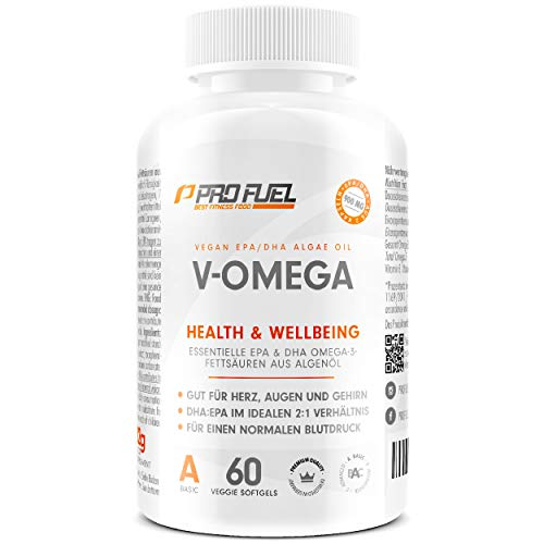 Omega-3 vegan aus Algenöl [1.100 mg] | hochdosiert - 300 EPA and 600 DHA | hochwertiges Omega-3 Öl in Kapseln (vegan) | Besser als Fischöl! V-OMEGA - 60 Kapseln