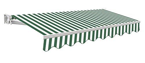 Primrose Store Banne Compact Auvent Manuel (3.5 x 2.5m, Rayures Vertes et Blanches)