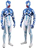 NVHAIM Starry Sky Blue and White Spider-Man Jumpsuit, Etapa de Navidad Disfraces de Rendimiento Adultos Niños Spandex Spiderman Cosplay Traje,Blue-Men L