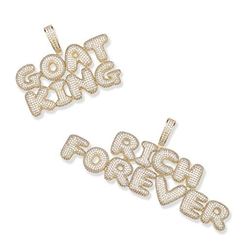 GUCY Personalized Name Necklace Custom Bubble Letter Initial Pendant Necklace Gift for Men Women (2 Row Name Necklace Gold)