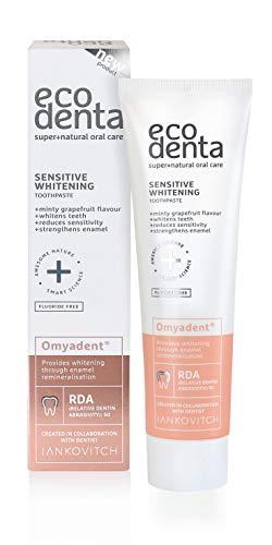 Ecodenta Zahnpasta Ohne Fluorid Sensitive Whitening Toothpaste 100ml I Sanfte Aufhellung mit Omyadent Abrasiv Perfekt für Personen mit Empfindlichen Zähnen oder Porzellanveneers