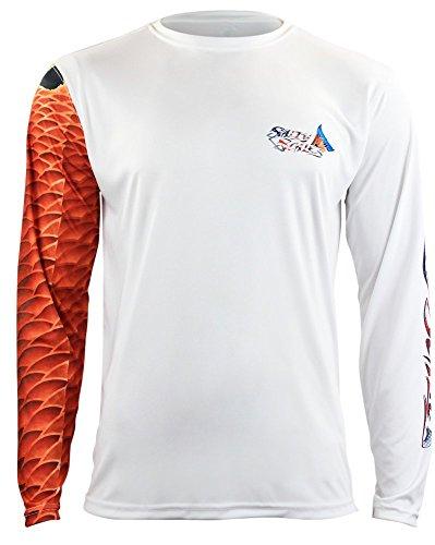Salty Scales Redfish Long Sleeve Fishing Shirt for Men, Dri-Fit Performance
