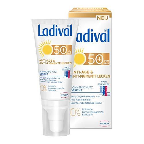 LADIVAL Anti-Age & Anti-Pigmentflecken LSF 50+, Parfümfreie Sonnencreme für Gesicht, Hals, Dekolleté und Hände, ohne Farb- und Konservierungsstoffe, 50 ml