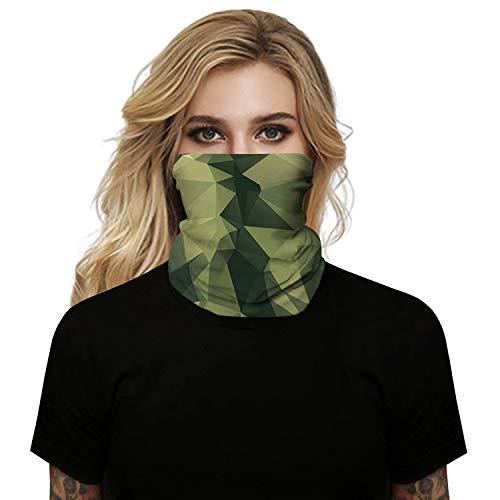 SansoiSan Unisex 3D bedruckte Schlauchmaske Stirnband Halswärmer Gaiter Multifunktionale Bandana Tube Schal Stirnband Gesichtsmaske Kopftuch Sturmhaube Gr. Einheitsgröße, Grün Camouflage bedruckt