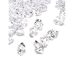 DomeStar Clear Fake Crushed Ice Rocks, 1000 PCS Fake Diamonds Plastic Ice Cubes Acrylic Clear Ice Rock Diamond Crystals Fake Ice Cubes Gems for Home Decoration Wedding Display Vase Fillers
