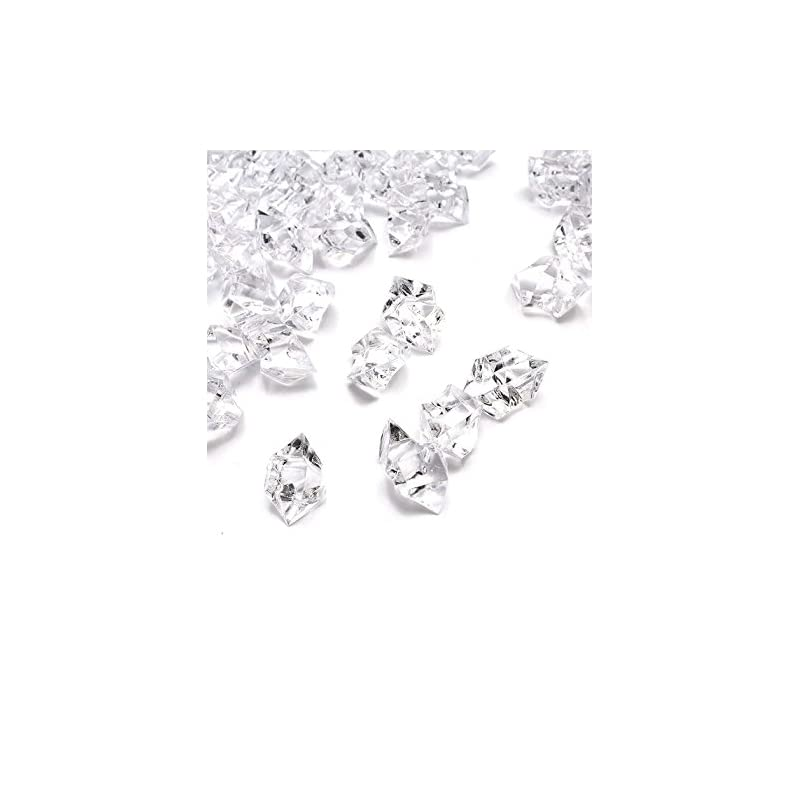 silk flower arrangements domestar fake ice cubes, 4lbs 1,000pcs acrylic ice cubes clear rocks fake diamonds clear acrylic vase filler plastic crystals clear fake crushed ice rocks acrylic gems