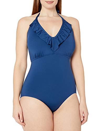 Cole of California Women's Plus-Size Super Solids Ruffle Halter One Piece Swimsuit, Navy, 16