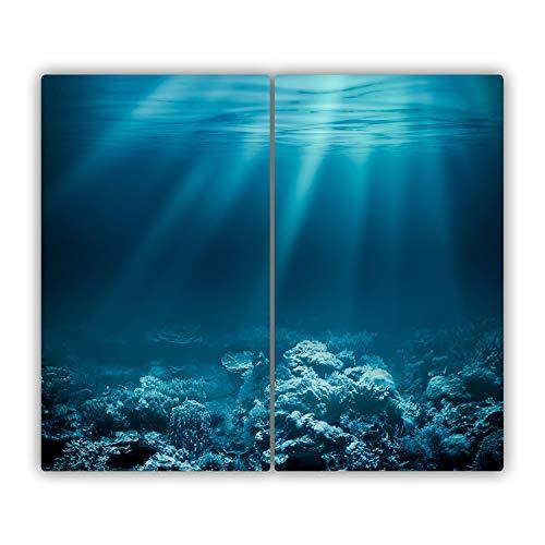 Tulup Vidrio Cubierta de la cocina 80x52 cm Cerámica Placa de inducción Placa protectora Tabla de cortar para cocina resistente al calor - Mundo submarino