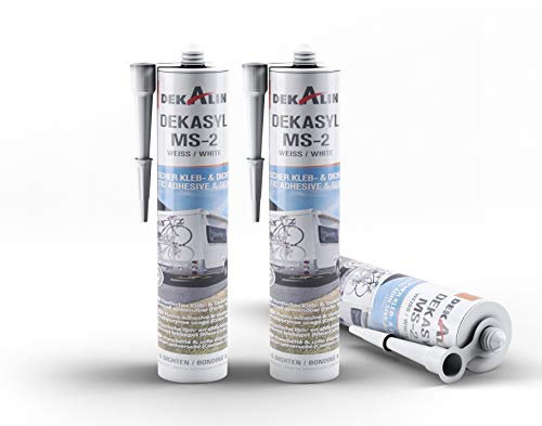 3 x Dekalin DEKAsyl MS 2 MS-Polymer Klebedichtmasse - Dichtungsmittel und Kleber in einem für Camper, Caravan, Wohnmobil 290 ml (weiß), 0, 3 x 290 ml
