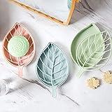 Primelife Plastic 3Pcs Beautiful Leaf Shape Double Layer Soap Dish Case Holder Bathroom Accessory - Multicolor (Leaf Soap Dish - Set of 3)