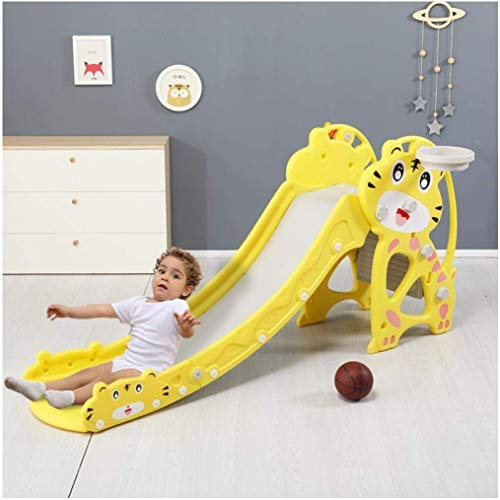 Indoor/Outdoor Kids Toy Slide, Toddler Freestanding Plastic Slides, Baby Play Climber Slide Set with Extra Long Slipping Slope and Basketball Hoop, Child's Gift