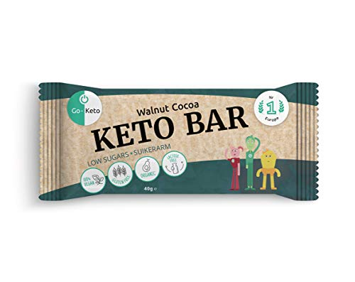 Go-Keto Bar - Walnut Cacao (BIO) | 12 x 40g Keto Riegel | mit gesunden Walnüssen, Chia Samen, Kakao und Kokosöl | Keto Riegel ohne Zucker, perfekt für Deine Keto Diät | Paläo, vegan, Low Carb