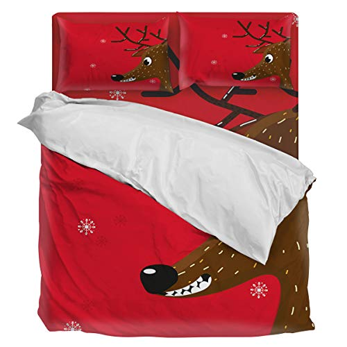 Fantasy Staring 4 Pieces Duvet Cover Bedding Set - Christmas Reindeer Comforter Cover Luxury Soft Bedding Set with Zipper and Corner Ties, King Size
