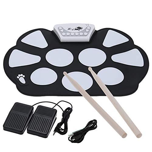 LncBoc Drum Pad Kit Elettronico Portatile Roll up Silicio Pieghevole, con Bastone e Pedale Strumento Musicale per Principianti e Bambini, Regali musicali per ragazzi