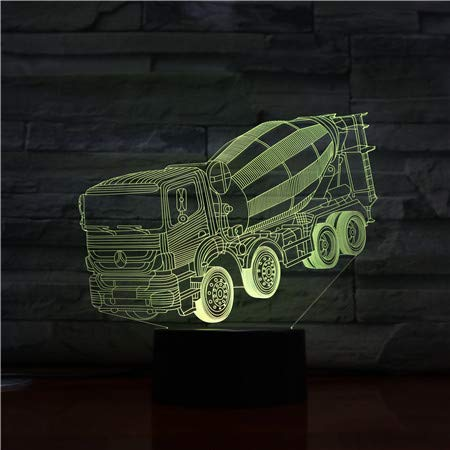LED Night Light with Concrete Mixer Pattern,7 Colors Changing with USB Cable,Touch Remote Control, Best for Children Gift Baby Bedroom and Party Decorations.