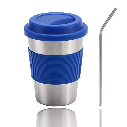 Taza de café con tapa, taza con tapa y manguito de silicona, doble pared y aislamiento al vacío, taza de viaje para vino, cerveza, café, champán, cócteles, EIS, bebidas calientes, color azul
