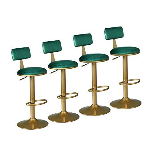 Sgabelli alti per bar e bistrot, sgabelli girevoli regolabili in altezza, sgabelli alti in velluto con poggiapiedi in metallo, sedie antiche elevate per bar e ristoranti, sedie all'alto vintage, verde