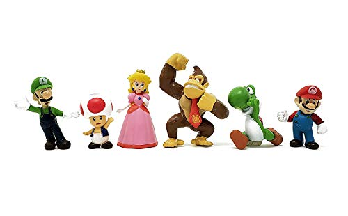 6 Pcs mario figures Characters set of 6 Action Figure Toys Premium video game Cake Toppers mario cake decorations and Party Favors for mario party supplier birthday