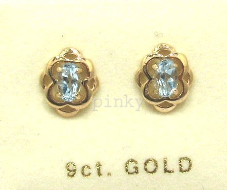 New 9ct GOLD BLUE TOPAZ CELTIC WEAVE STUD EARRING (GS1470) GOLD EARRING / Gold Jewellry (MADE IN UK WITH HIGH QUALITY)