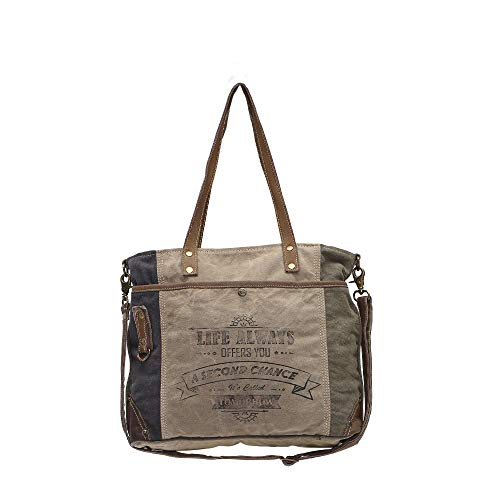 Myra Bags Life Always Upcycled Canvas Shoulder Bag S-0948, Tan, Khaki, Brown, One_Size