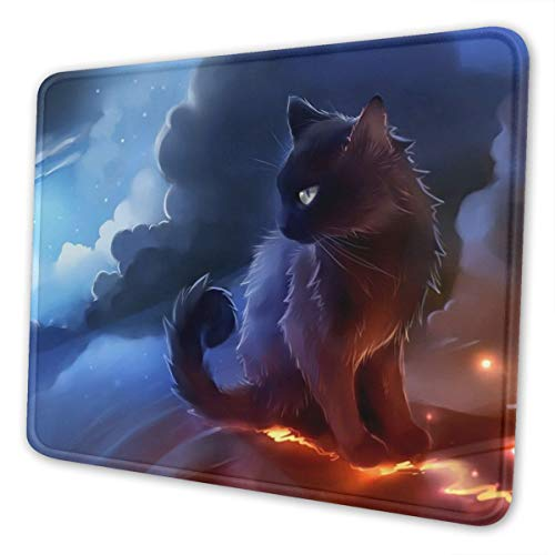 Mouse Pad Cute Black Cat Gaming Mousepad with Stitched Edges Non-Slip Rubber Base for Computers Laptop Office & Home