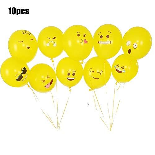 MoreBeauty Ojos Grandes Impresos Lindos Emoji Cara Sonriente Globos De Látex para Fiesta De Cumpleaños O Decoración De Vacaciones Estilo 1 Paquete De 10 Amarillo