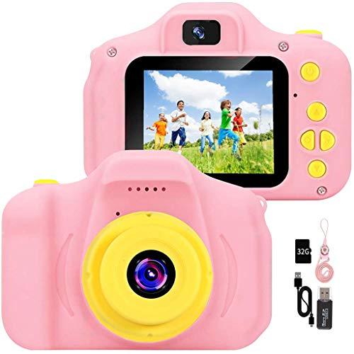 YunLone Macchina Fotografica per Bambini 12MP Selfie Fotocamera Bambine con Scheda 32GB, Custodia, Batteria 1200mAh, Lettore Musicale, Regalo Compleanno per Bambina