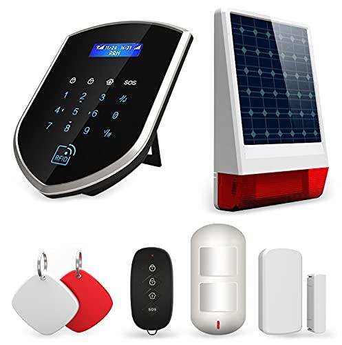 Wolf-Guard 433MHz Sistema de alarma de seguridad para el hogar inalámbrico 3G / GSM Smart Dial automático con PIR, contacto de puerta, llavero y alarma solar estroboscópica al aire libre (120dB)