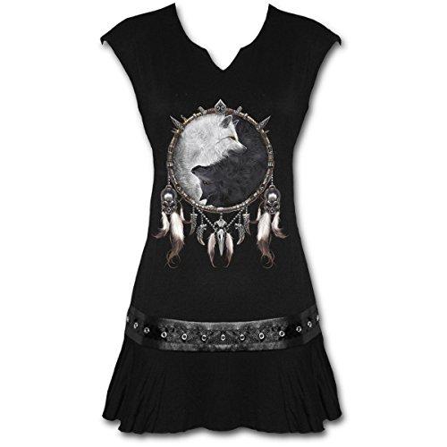 Mini vestido espiral para mujer, diseño de lobo chi, color negro Negro Negro (...
