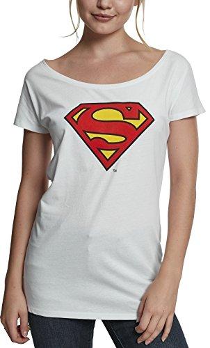 MERCHCODE Damen Superman Logo Tee T-Shirt White, XL
