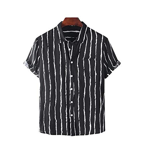 Men's Short-Sleeved Shirt European and American Summer Color Matching Striped Short-Sleeved Shirt with Pockets Fashion Casual Shirt XL Black