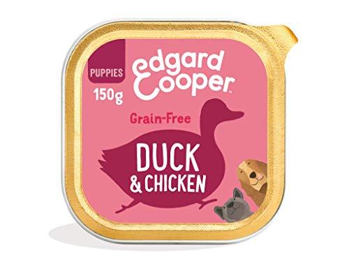 Edgard & Cooper Comida humeda Perros Cachorros sin Cereales, Natural con Pato y Pollo de Granja, con prebióticos para una digestión Saludable. Carne 100% Fresca en paté. Pack de 11x150gr