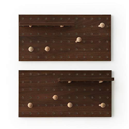 XAOMLP Wooden Pegboard Modular Display Organization Storage Wall Hooks Shelf 15.2in x 7.6in 2-Pack