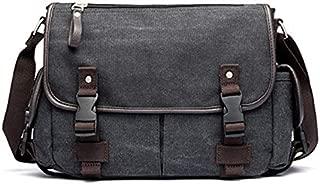 TOOGOO Canvas Leather Bag Shoulder Messenger Bag Men'S Casual Bag Notebook Briefcase Travel Handbag Khaki