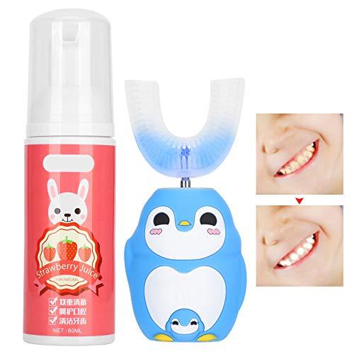 Silikon U förmige Kopfzahnbürste, automatische elektronische Kinderzahnbürste mit Reinigungsmousse 60 ml, Zahnreinigungswerkzeug mit süßem Cartoon Muster(Blau)