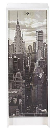SIMMOB Classeur Blanc Rideau New York Hauteur 104 cm, Bois