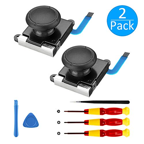 [Neue Version] 2 Pack 3D Ersatz Joystick Analog Thumb Stick für Nintendo Switch Joy-Con Controller - Include Tri -Wing && Screwdriver Tool