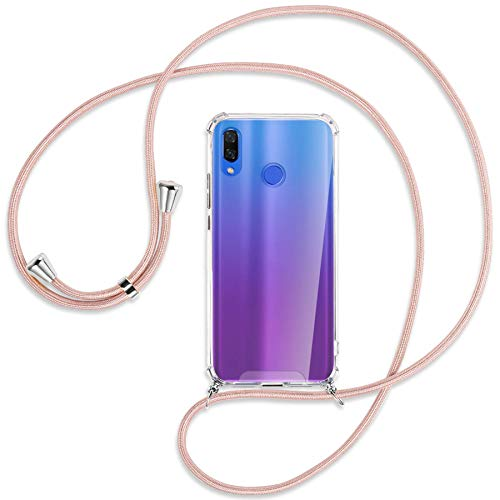 mtb More Energy Collar Smartphone para Huawei P Smart Plus, P Smart+ / Huawei Nova 3, 3i (6.3'') - Oro Rosa - Funda Protectora ponible - Carcasa Anti Shock con Cuerda