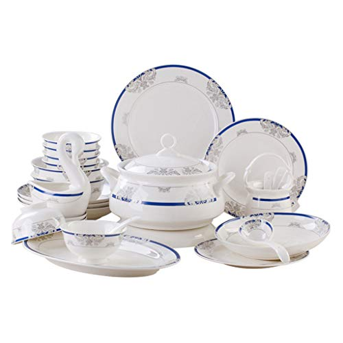 JIAX Gift Essentials Dinnerware Set – 60 Pieces of Porcelain Dinner Plate Set for 10 – Durable Porcelain Dinnerware Set, Plates and Bowls – Microwave, Oven and Dishwasher Safe (Color : Package-A)