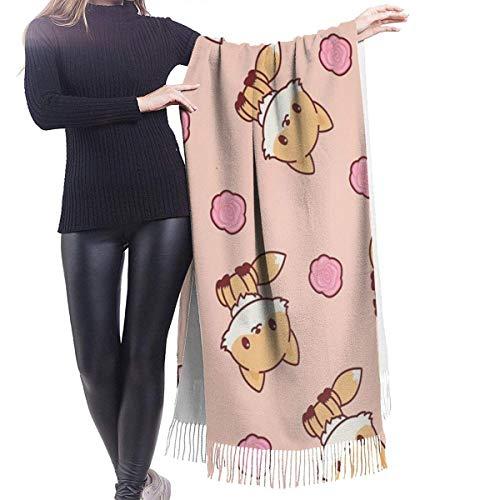 Bonito chal de cachemira de zorro, bufanda de abrigo, gran bufanda de lana con borla giratoria, bufanda de estola para mujer