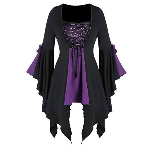 WooCo Women Halloween Gothic Witch Costume Tops Plus Size Sexy Lace Up Patchwork T Shirt Dress Tunic Blouses Cosplay Purple