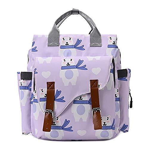 Bolsa de pañales Mochila-Bolsa de pañales para bebé de Gran Capacidad-Bolsas multifunción con Estampado de Dibujos Animados de mamá para niñas/Mujeres-con Bolsillo Aislado (Color : Purple Bear)