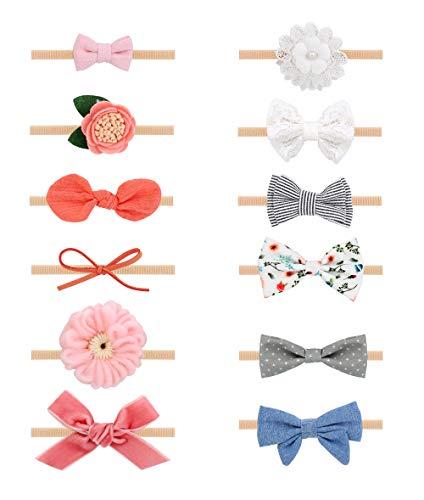 Milacolato 12Pcs Stirnbänder Baby Mädchen und Schleifen, Haarschmuck für Neugeborene Kleinkind Mädchen Nylon Stirnbänder Kinder Baby Haarschmuck